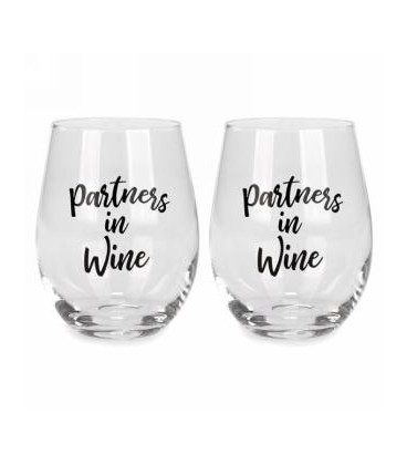 Stemless wine glass set of 2 - Partners in...