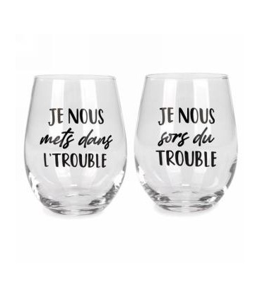 Stemless wine glass set of 2 - Trouble...