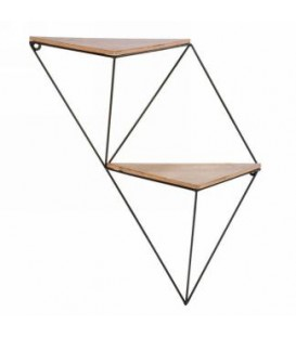 Double triangle shelf in wood and metal 15 x 19 ''