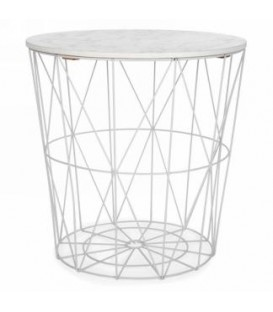 16 x 18 '' white metal basket table with marble style cover