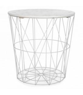 Table panier en métal blanc couvercle style marbre 16 x 18''