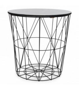 Table panier en métal noir couvercle style marbre 16 x 18''