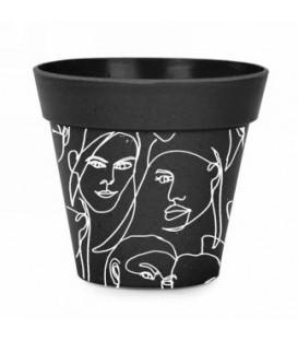 Black color bamboo pot 7 x 6 ''