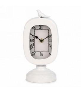 Horloge de table blanche avec oiseau 4.5 x 4 x 9''