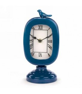 Blue table clock with bird 4.5 x 4 x 9 ''