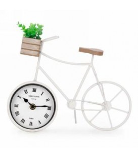 White metal bicycle table clock 11 x 3.5 x 9 ''