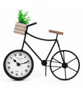 Black metal bicycle table clock 11 x 3.5 x6.5 ''