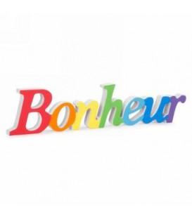 BONHEUR- Multicolore 12 x 3''