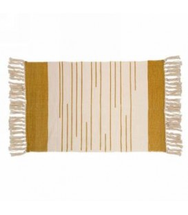 Ocher and natural color rug 42 x 33 ''