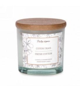 Chandelle en verre blanc 3''- Coton Frais