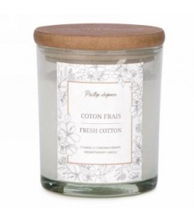4.5'' White Glass Candle - Fresh Cotton