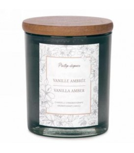 4.5'' Gray Glass Candle - Amber Vanilla