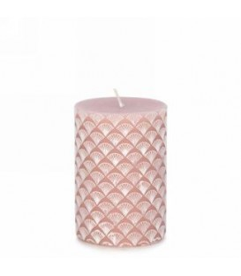 Antique rose candle with engraved pattern 3x4 ''