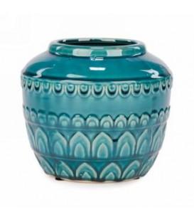 Glossy finish turquoise pot 7.5 x 7.5 ''
