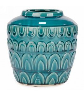 Pot turquoise fini brillant 7.5 x 8''