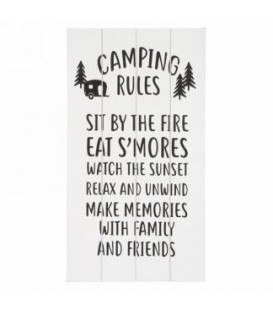 Plaque murale camping rules 8.5 x 15.5''