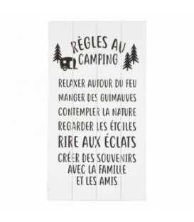 8.5 x 15.5 '' règles au camping wall plaque
