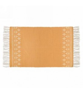 Mustard yellow and natural color rug 42 x 23 ''