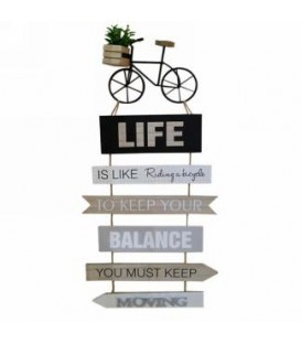 Plaque murale bicyclette- Life.... 11 x 23''