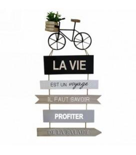 Plaque murale bicyclette- La vie voyage.... 11 x 23''