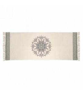 Gray and natural color rug - MANDALA 94 x 35 ''