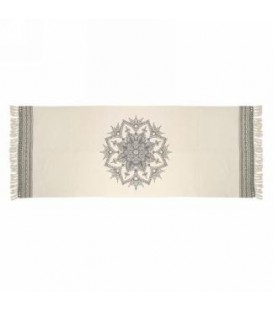Tapis couleur gris et naturel- MANDALA 94 x 35''