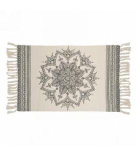 Gray and natural color rug - MANDALA 42 x 23 ''