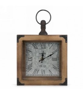 Horloge antique en bois et métal 7 x 9 x 1.5''