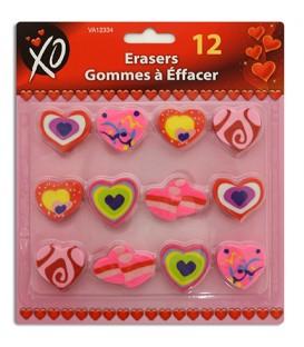 12 Valentine erasers
