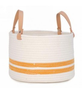 12 X 8 '' Off-White and Yellow Storage Basket