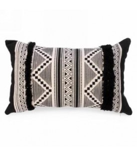 Coussin rectangle noir et naturel 18 x 12''
