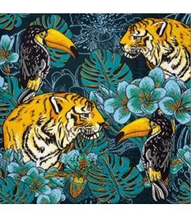 Serviette de table- tigres et toucans 6.5 x 6.5''