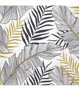 Serviette de table- feuilles exotiques  6.5 x 6.5''