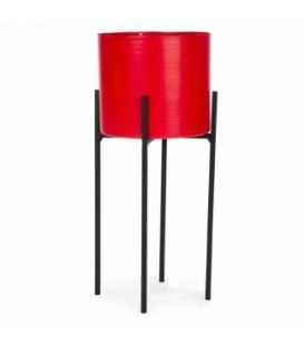Red metal pot on stand 5 x 12 ''