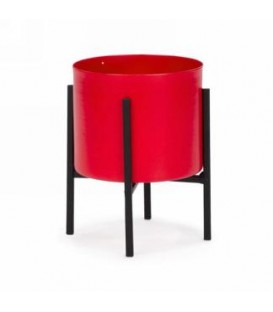 Red metal pot on stand 4.5 x 6 ''