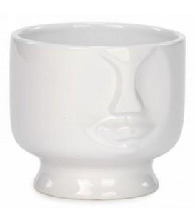 Pot en céramique blanc visage 4.5 x 4''