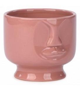 Pot en céramique  visage rose 4.5 x 4''