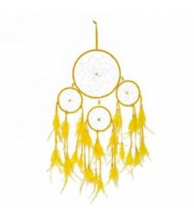 Attrape-rêve avec plumes jaunes 9 x 20''