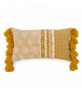 Coussin rectangle jaune moutarde et naturel 18 x 11''