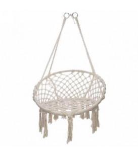 Natural macrame hanging chair 31 X 26.5 X 52 ''
