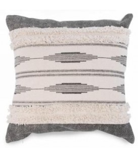 Gray and natural patterned cushion 17 x 17 ''