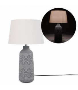 Gray base lamp with polka dot pattern 12.5 D x 21 ''
