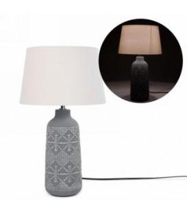 Lampe base grise à motif pois 12.5 D x 21''