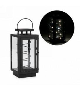 Lanterne en métal noir avec bobine 4.5 x 4.5 x 11''