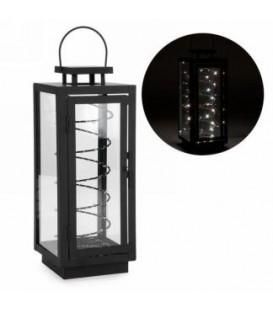 Lanterne en métal noir avec bobine LED 5.5 x 5.5 x 15''