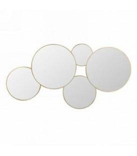 Miroir tour doré multi cercles 21.5 x 11''