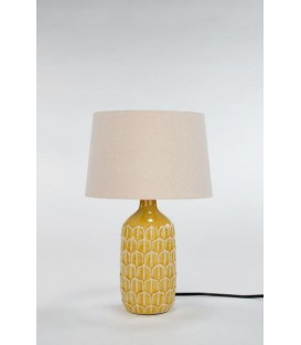 10D '' x 17 '' Textured Base Yellow Table Lamp