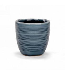 Pot en céramique bleu ligne horizontales