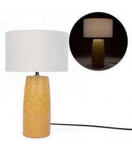 Lampe base jaune à motif floral 12'' D x 19''