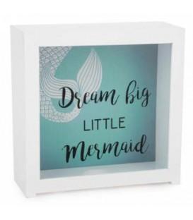 Boite tirelire little mermaid turquoise 7 x 3 x 7''